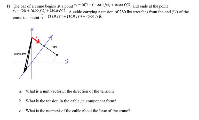 dddb200ca1a Question  The bar of a crane begins at a point r 1 vector   (0) I cap + (-  20.0 ft) j cap + (0.00 ft) k cap.