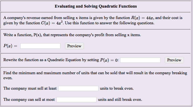 Solved: Evaluating And Solving Quadratic Functions A Compa