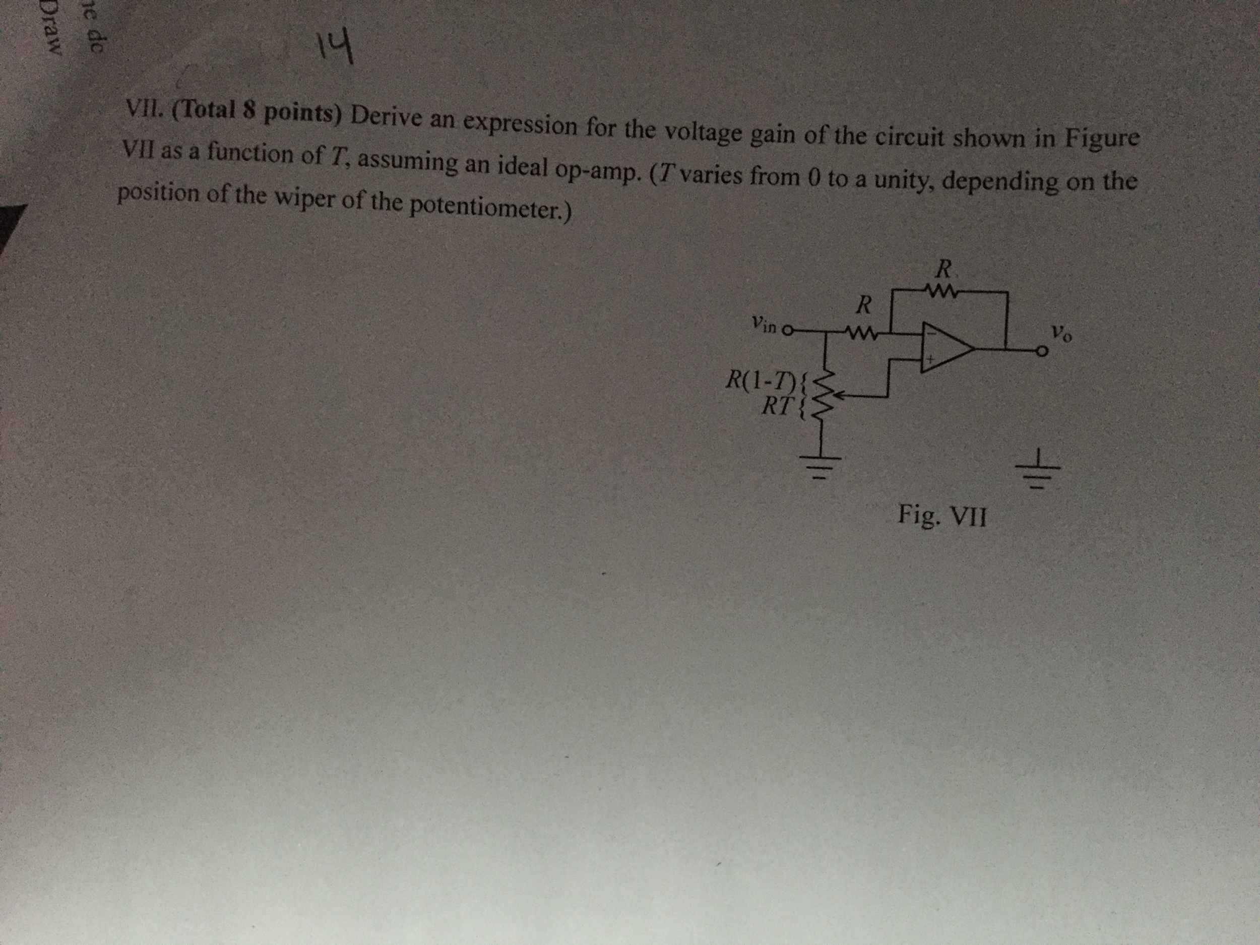 Derive an expression for the voltage gain of the c