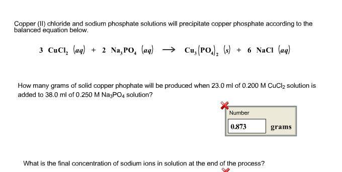 Solved Copper Ii Chloride And Sodium Phosphate Solution