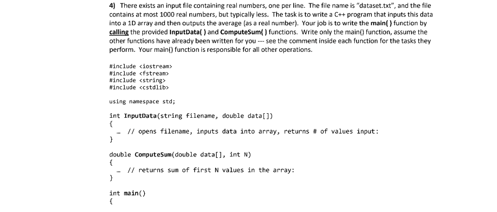 Solved: 4) There Exists An Input File Containing Real Numb