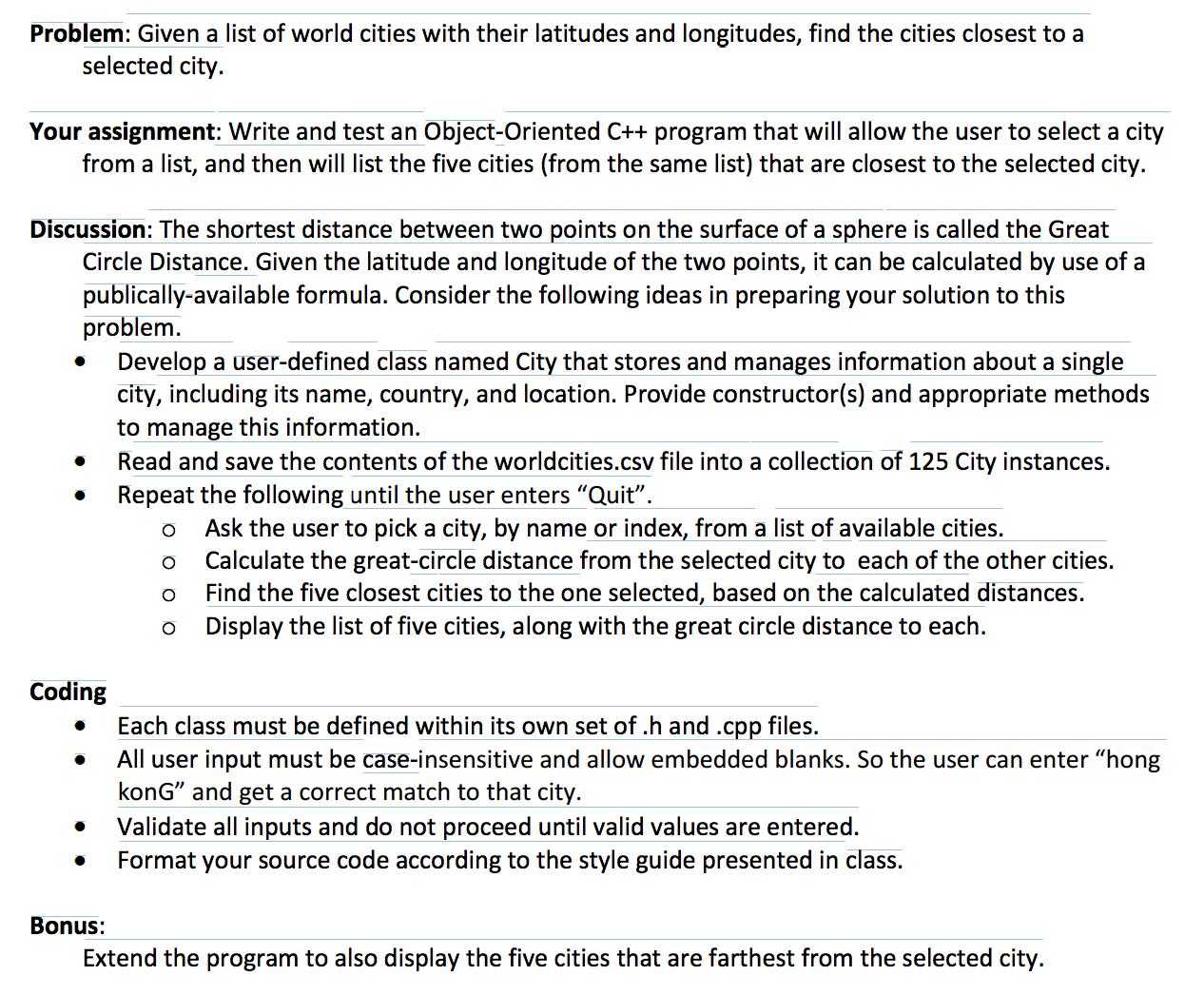 C++ - World Cities: Data File: City Country Latitu