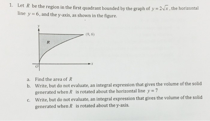 Solved Let R Be The Region In The First Quadrant Bounded