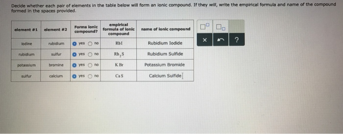 Solved: Decide Whether Each Pair Of Elements In The Table