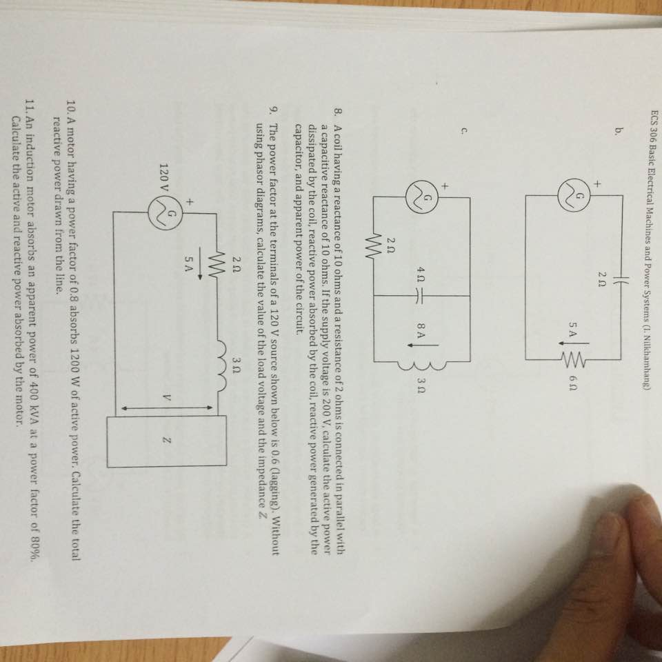 Solved Basic Electrical Machines And Power Systems I Ni For The Circuit Below Calculate Impedance Z Cheggcom