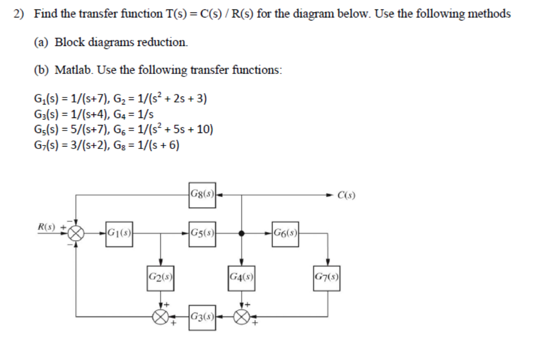 Find The Transfer Function T(s) = C(s) / R(s) For ... Block Diagram Reduction Matlab on