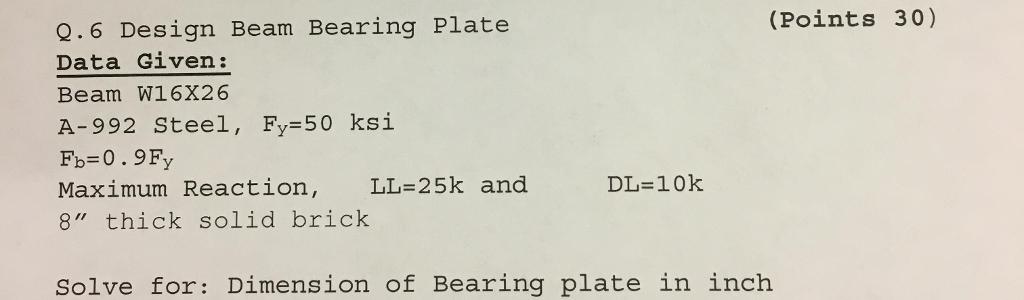 Solved: (Points 30) Q 6 Design Beam Bearing Plate Data Giv