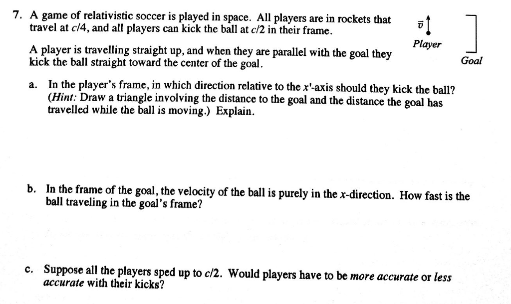Solved: A Game Of Relativistic Soccer Is Played In Space ...