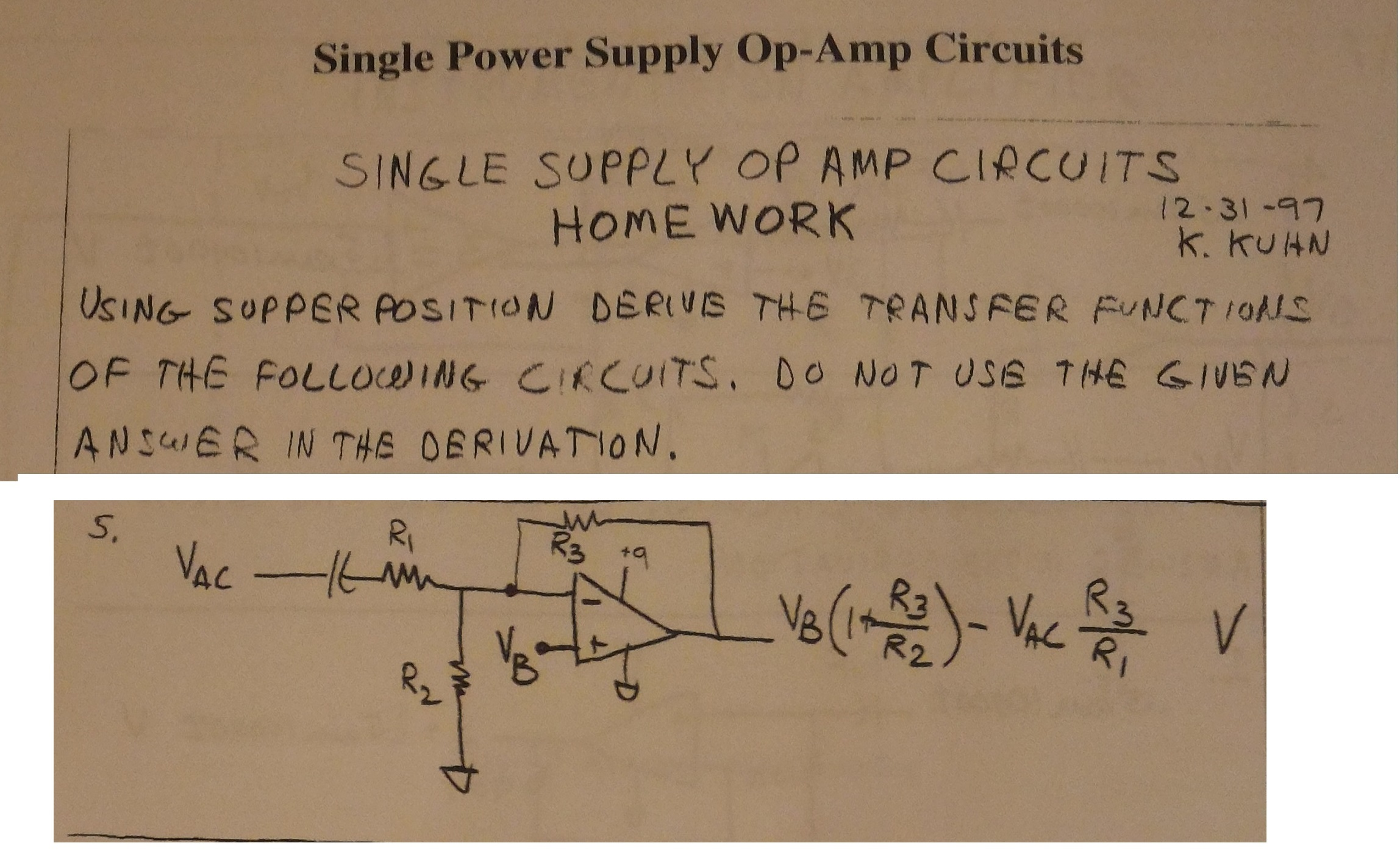 Solved Single Power Supply Op Amp Circuits Ampcircuits Question Using Upper Position Derive The