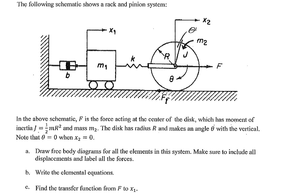 Solved: The Following Schematic Shows A Rack And Pinion Sy ... on ic schematic diagram, simple schematic diagram, ups battery diagram, layout diagram, template diagram, a schematic drawing, as is to be diagram, a schematic circuit, circuit diagram,