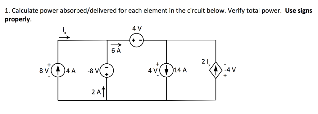 Solved: Calculate Power Absorbed/delivered For Each Elemen ...