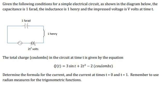 Solved: Given The Following Conditions For A Simple Electr ...