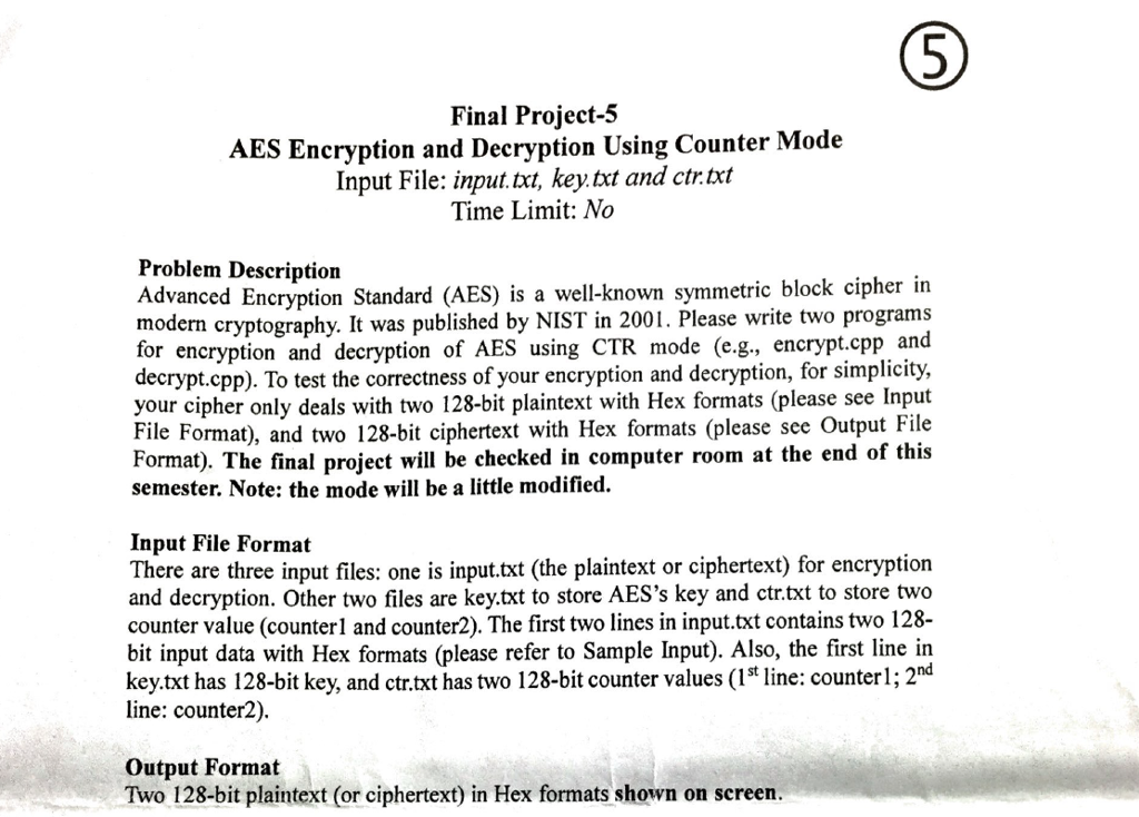 Final Project-5 AES Encryption And Decryption Usin