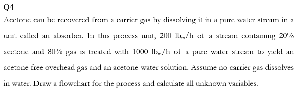 Solved: Q4 Acetone Can Be Recovered From A Carrier Gas By