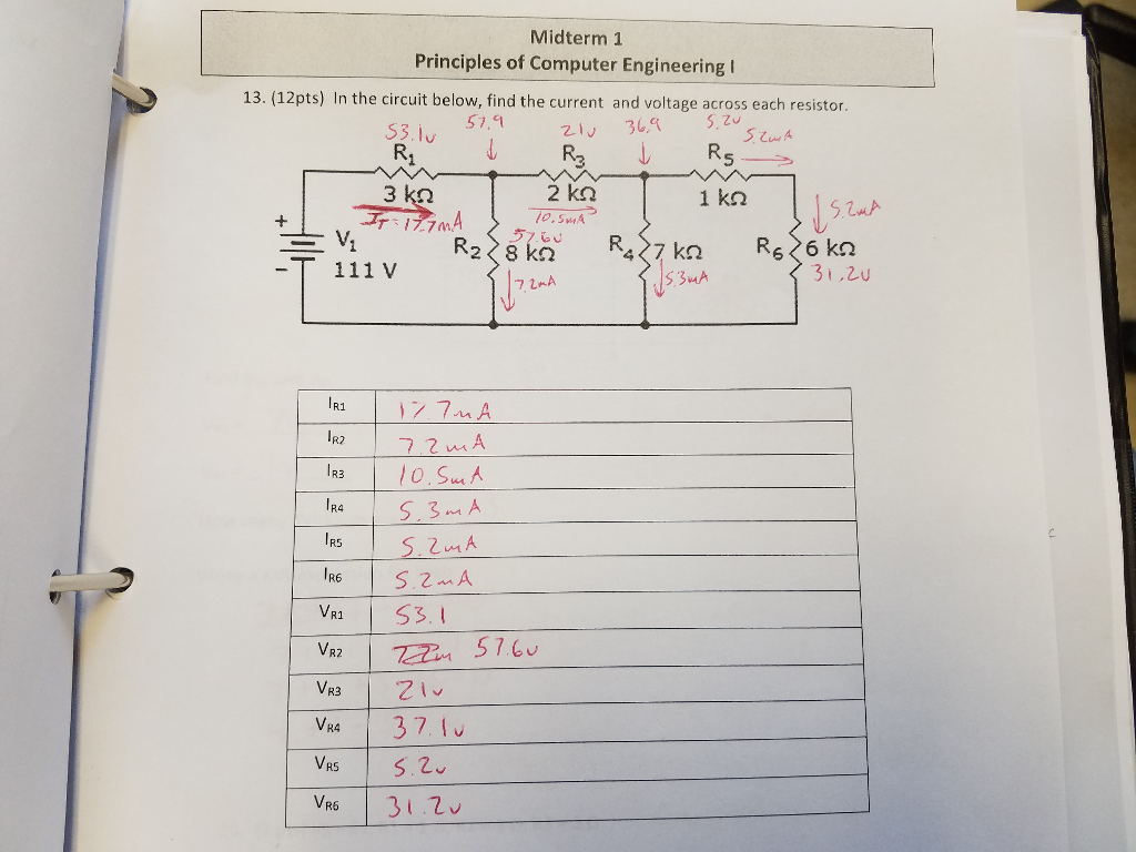 Solved Need Help With This Series Parallel Circuit Proble 5 Midterm 1 Principles Of Computer Engineering I 13 12pts In The Below