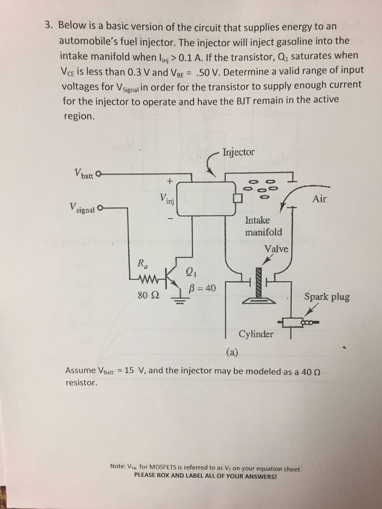 Solved 3 Below Is A Basic Version Of The Circuit That Su Mosfet Basics Supplies Energy To Arn Automobiles