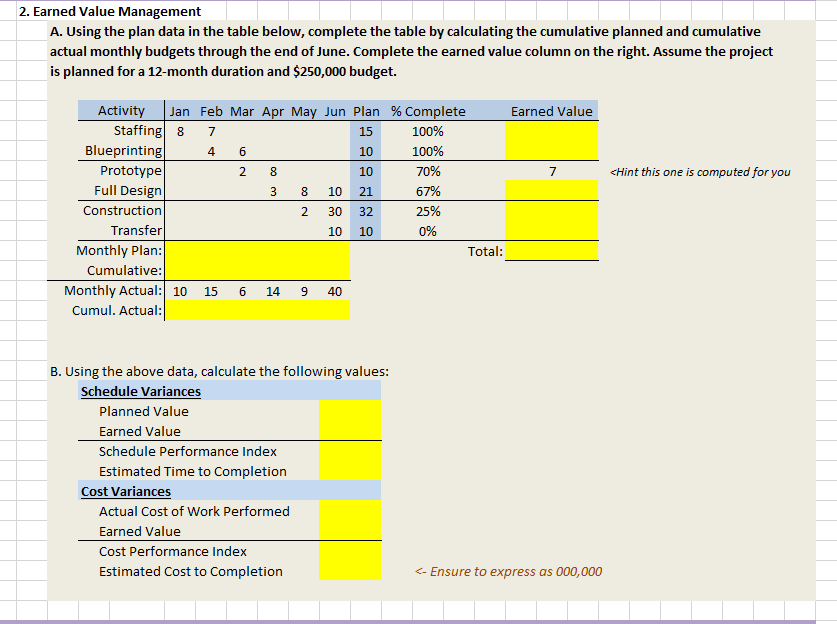 you have collected data as provided in the excel template based on three months of your projects performance complete the excel table by computing