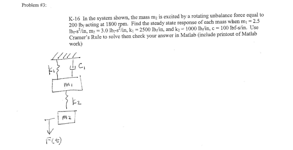 Problem #3: K-16 In The System Shown, The Mass M I