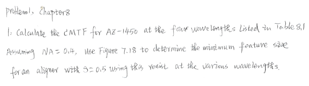 proklean, Chapter 8 I: Calculate the CMTF fury AZ - 1450 at the four Juve lengths listed in Teble 8L Assuming NA = 0, 4, Use Figure 7.18 to deterrine the minimum feature sìe for an aligner with 32 0.5 Usmg this yesist at the various wavelengths.