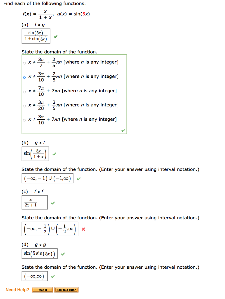 Solved: Find Each Of The Following Functions. F(x) = X ...