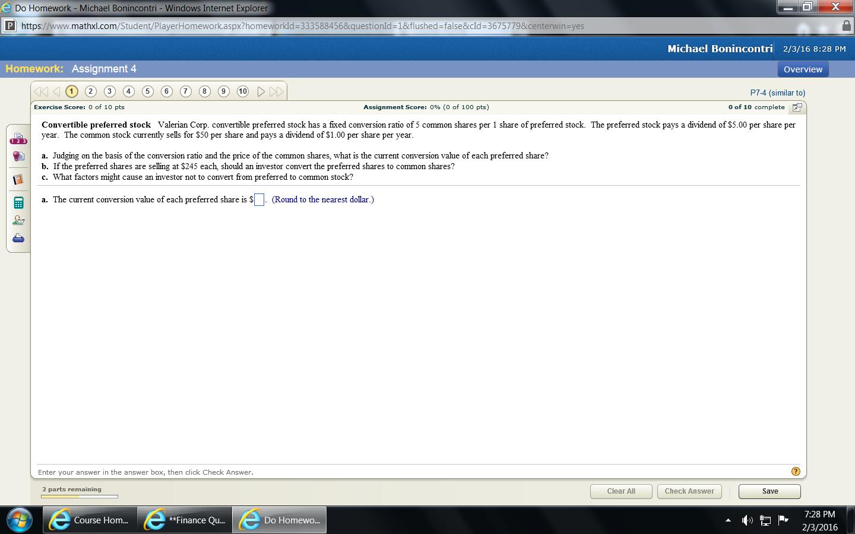 e do homework michael bonincontri windows internet com finance homework question cannot copy so screen shot pasted below thanks