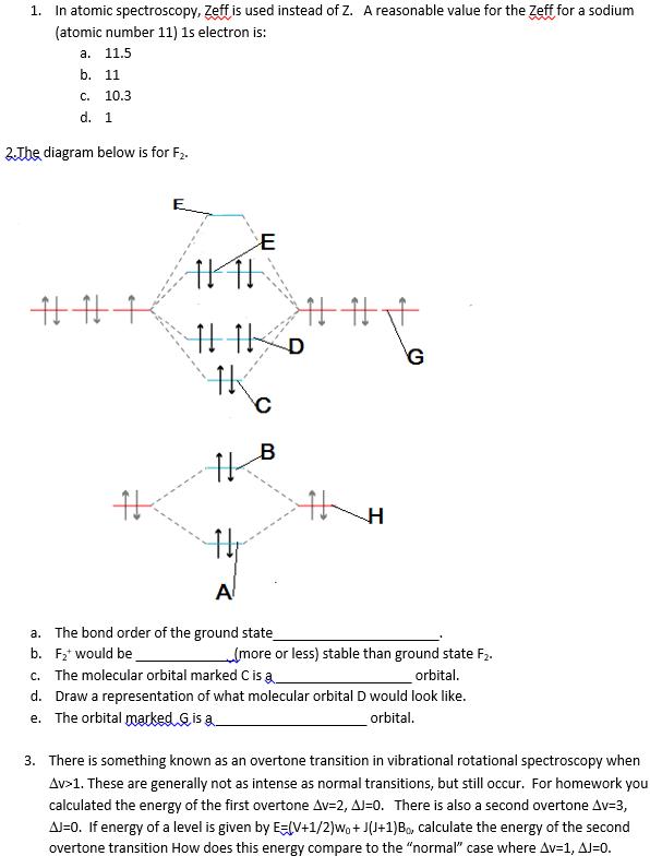 Solved In Atomic Spectroscopy Zeff Is Used Instead Of Z