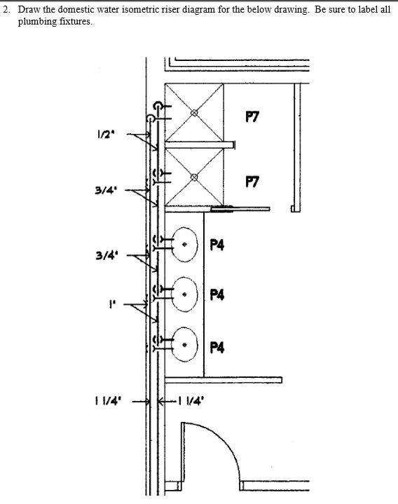 2  draw the domestic water isometric riser diagram