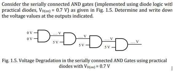 Consider the serially connected AND gates (implemented using diode logic witl practical diodes, VD(on)= 0.7 V) as given in Fig. 1.5. Determine and write dow the voltage values at the outputs indicated. ov- ダV Fig. 1.5. Voltage Degradation in the serially connected AND Gates using practical diodes with VD(on) = 0.7 V