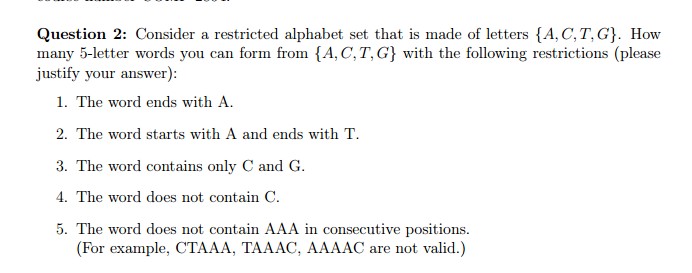 Consider A Restricted Alphabet Set That Is Made Of