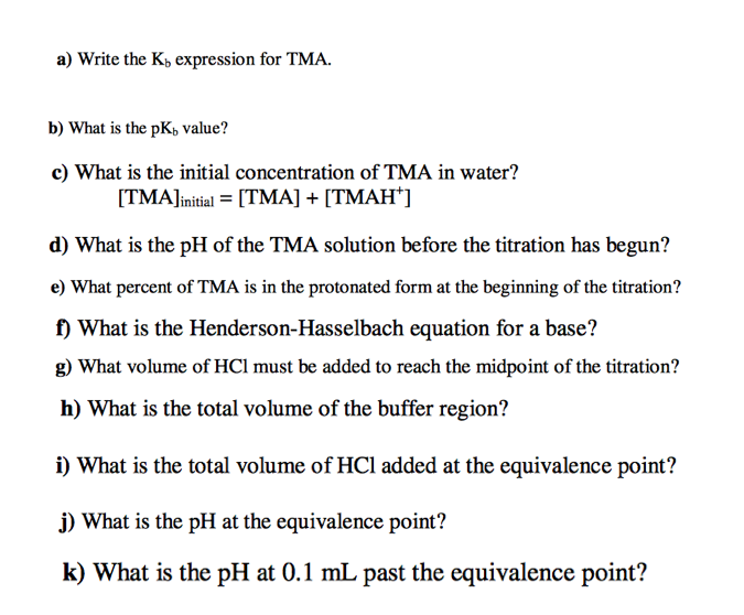 Solved: Titration Worksheet Titrate The Base Trimethylamin ...