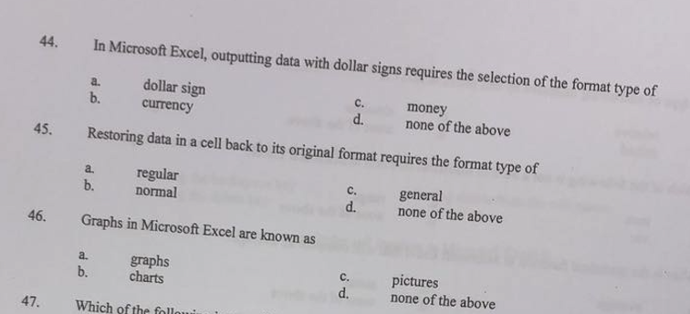 solved 44 in microsoft excel outputting data with dolla