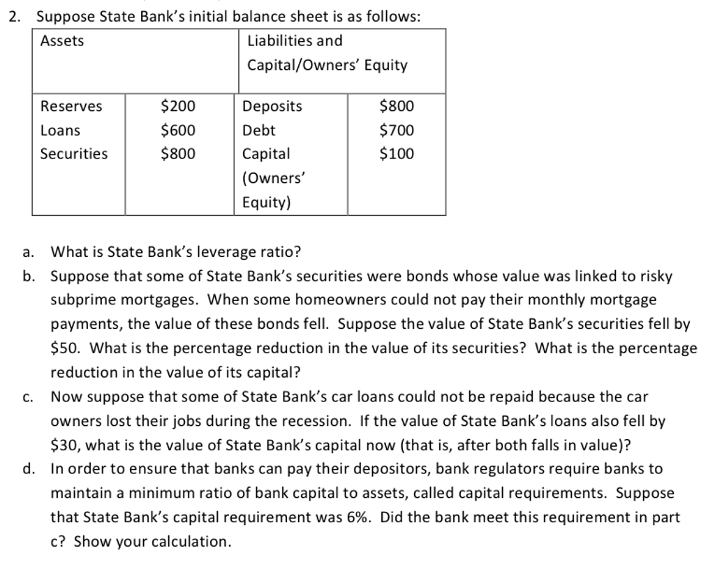 solved: suppose state bank's initial balance sheet is as f