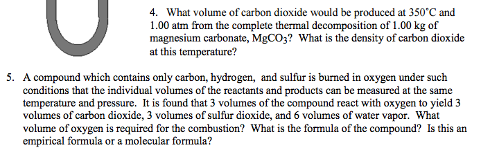 Solved: What Volume Of Carbon Dioxide Would Be Produced At