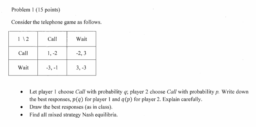 problem 1 15 points consider the telephone game as follows 1 12 call
