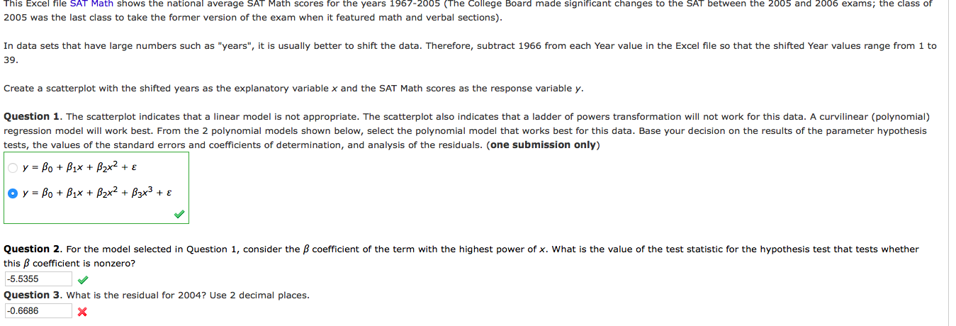 question 3 please here is the excel data sat m chegg com