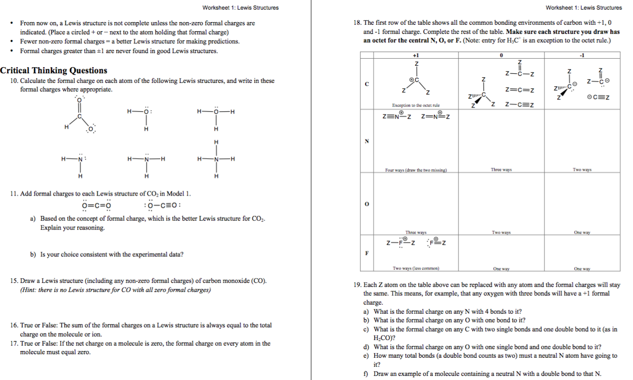Solved Worksheet 1 Lewis Structures Worksheet 1 Lewis S