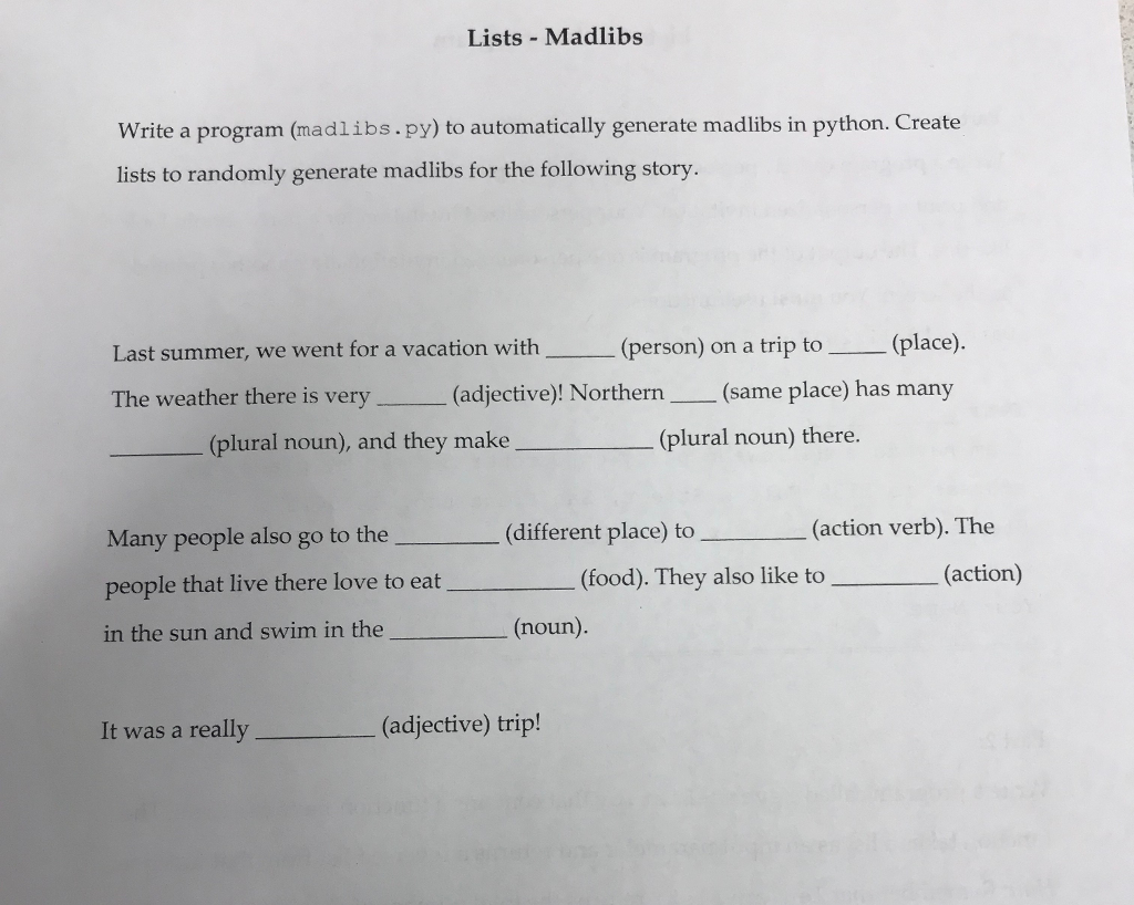 photograph relating to Summer Mad Libs Printable called Lists Madlibs Compose A Application (madlibs.py) Towards Automobile