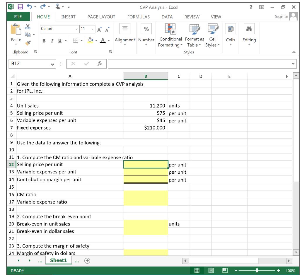 20. Compute the CM ratio and variable expense ratio.   Chegg.com