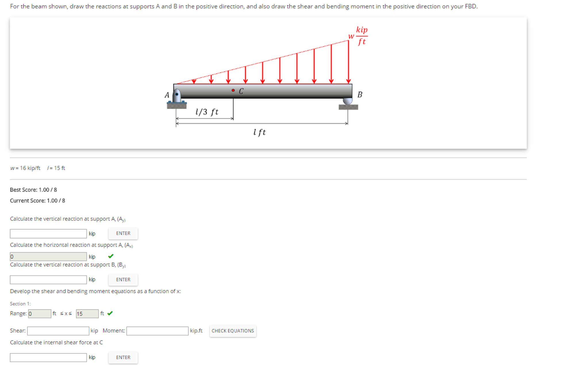 Solved For The Beam Shown Draw Reactions At Supports Shear And Bending Moment Diagrams Cheggcom