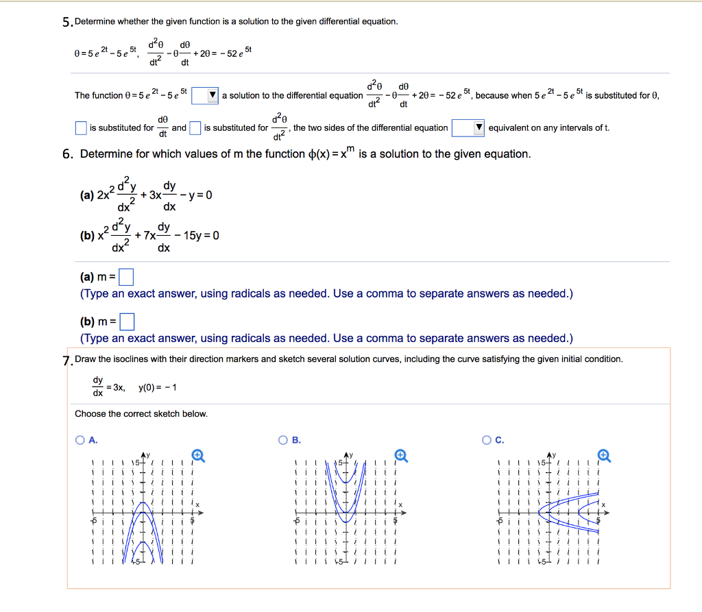 solved 5 determine whether the given function is a soluti rh chegg com