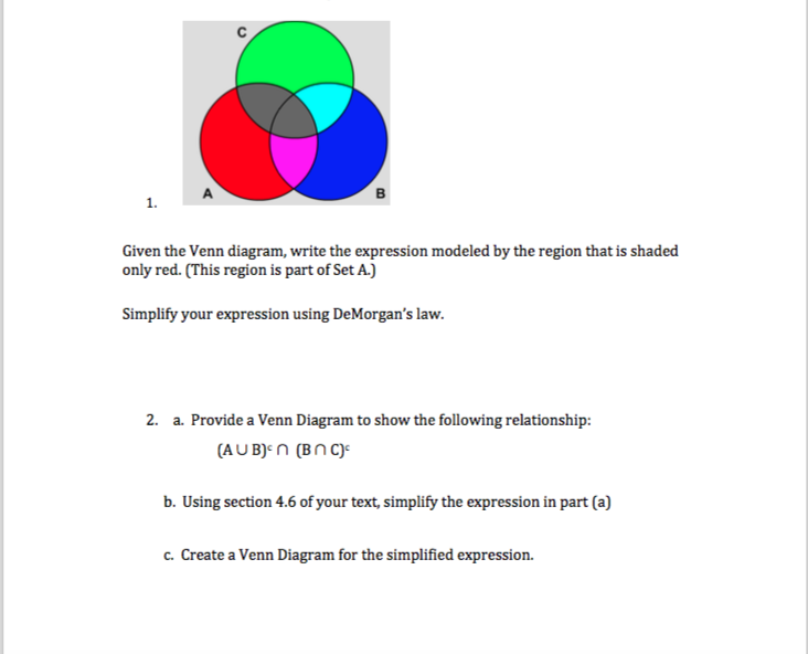 Solved 1 given the venn diagram write the expression mo given the venn diagram write the expression modeled by the region that is ccuart Choice Image