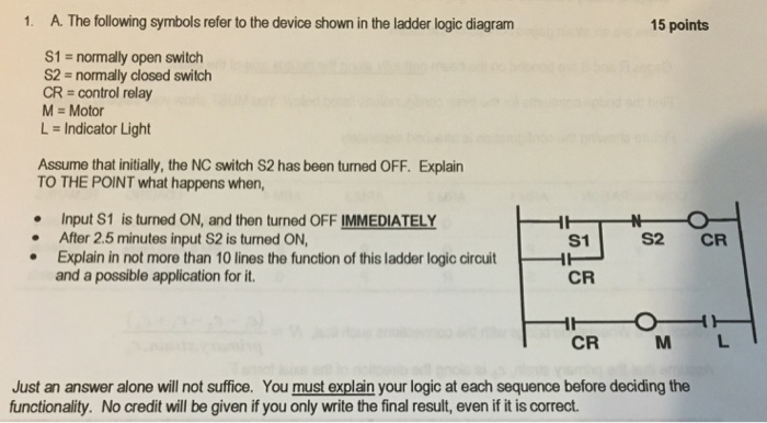 solved 1 a the following symbols refer to the device sh ladder symbol logic gates a the following symbols refer to the device shown in the ladder logic