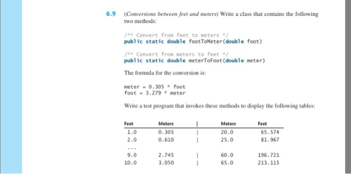 Image For 6 9 Conversions Between Feet And Meters Write A Clthat Contains The