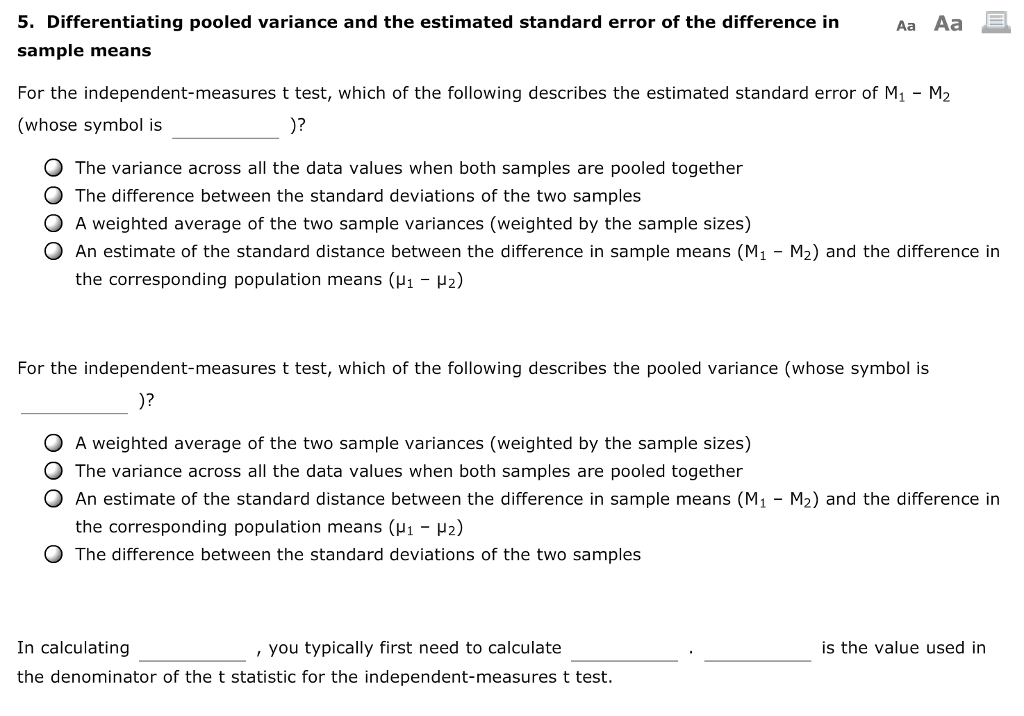 Solved Differentiating Pooled Variance And The Estimated