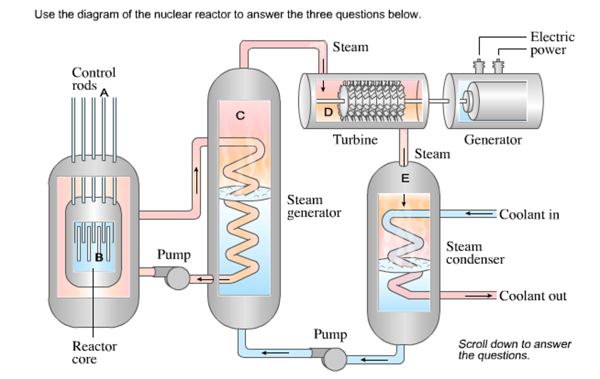 Question: Use the diagram of the nuclear reactor to answer the three  questions below. Electric power Steam .
