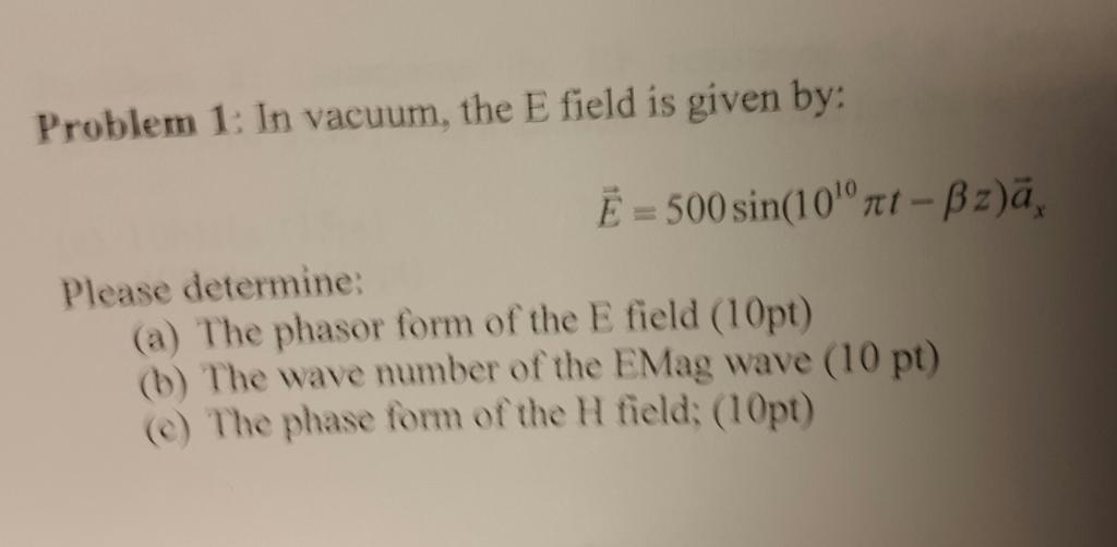 Problem 1 In vacuum the E field