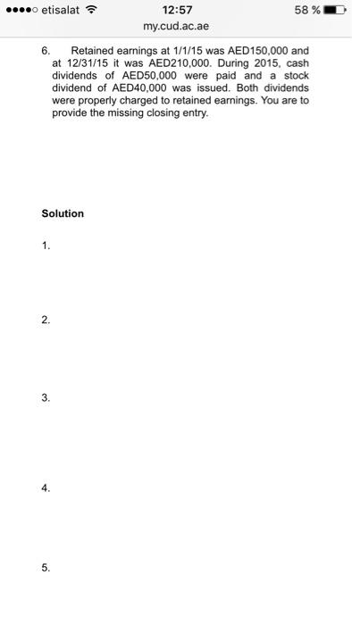 Solved: O Etisalat 12:57 58% My Cud ac ae Ll/ Data Relatin