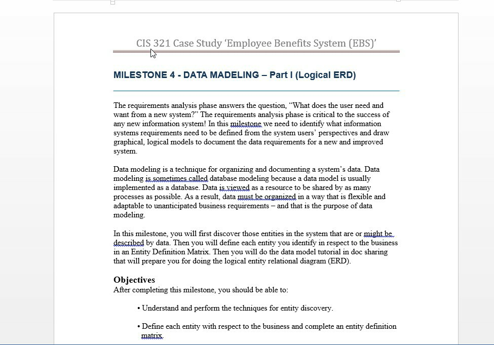 Solved cis 321 case study employee benefits system ebs cis 321 case study employee benefits system ebs milestone 4 data madeling part i ccuart Images