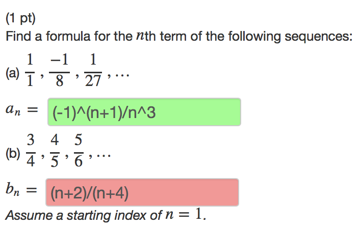 Nice (1 Pt) Find A Formula For The Nth Term Of The Following Sequences: