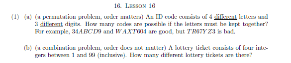 Solved: An ID Code Consists Of 4 Different Letters And 3 D